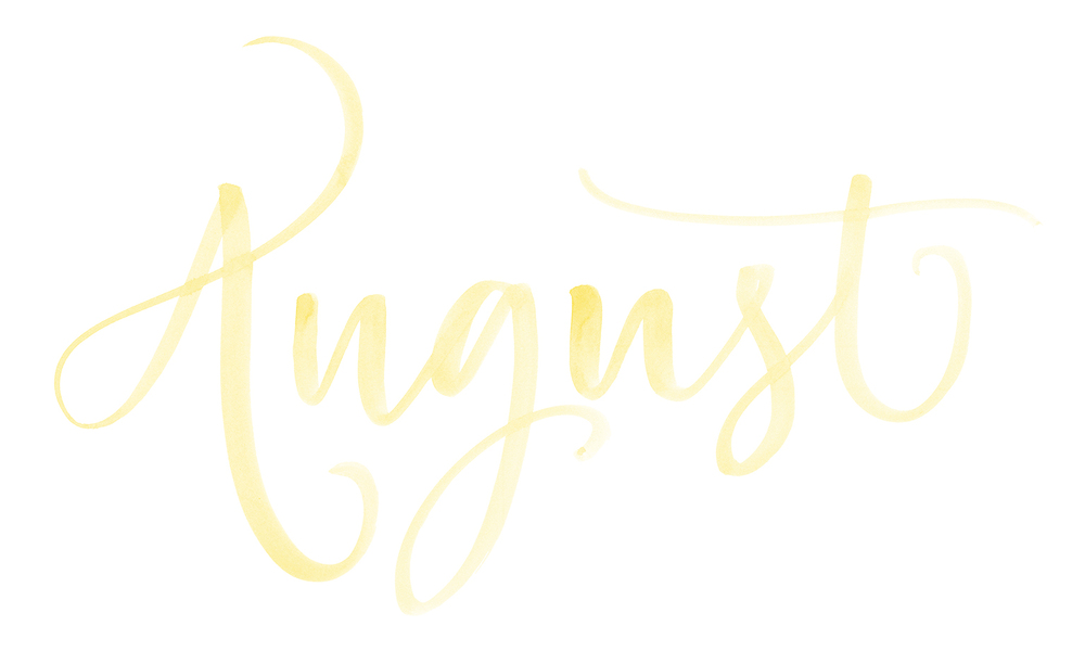 "Names of the months. Hand Lettered watercolor calligraphy ""August"" by A Creative Affair"