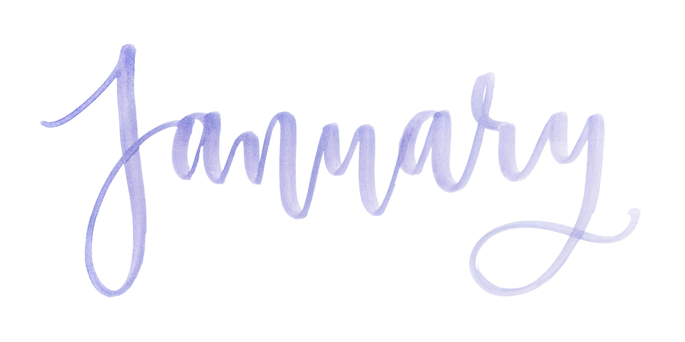 Month January watercolor lettering