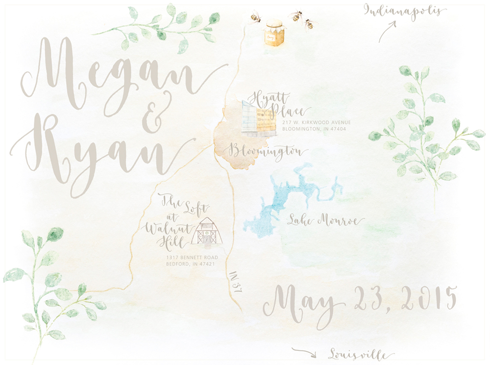 A Creative Affair illustrated Map with watercolor and pointed pen calligraphy