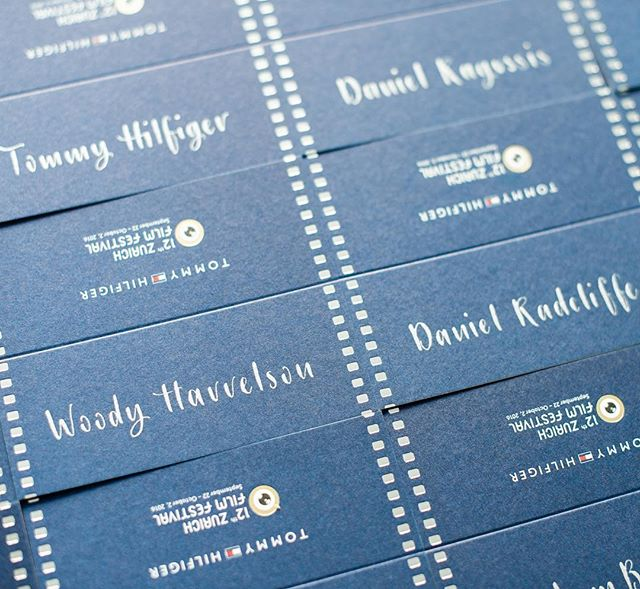 Some of the name cards I wrote for last night's VIP dinner during #zurichfilmfestival. Quite glamorous!  #zff2016 #moderncalligraphy #lettering #eventcalligraphy #tommyhilfigerparty  #seatingcards