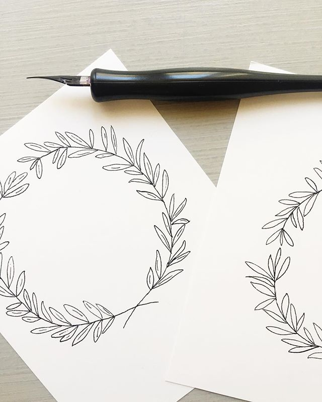 Pointed pen variations on my previous watercolor olive wreath. This invitation suite is going to be super lovely.