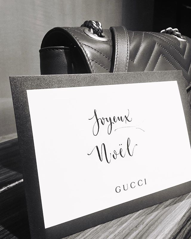 Writing personalized gift cards and Christmas greetings last night at Gucci's in beautiful St. Moritz.