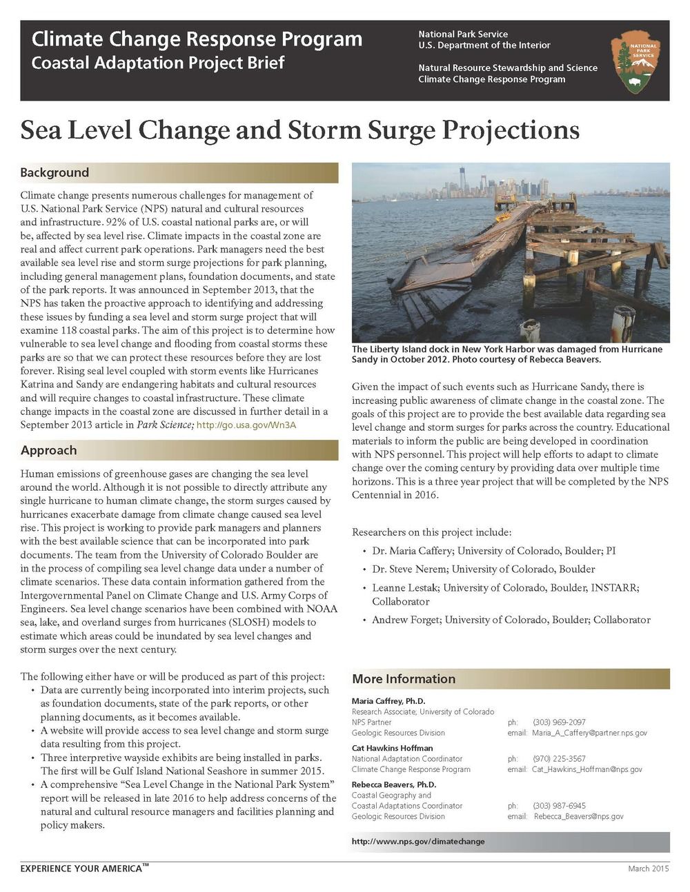 NPS Units to Sea Level Change 2015 Project Bief