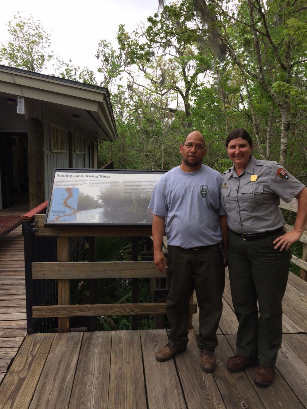 Staff from Jean Lafitte National Historical Park and Preserve in front of the new sea level wayside. Photo credit: Jorge Melendez.