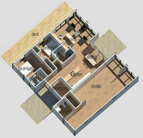 Bat Floor Plans With Stairs In Middle | Callicoon Center Ny Tim Steele Design