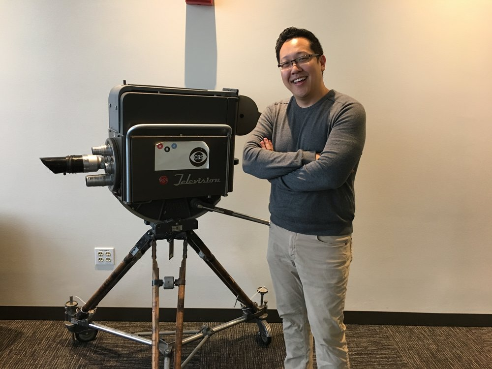 Posing with a vintage CBS television camera!