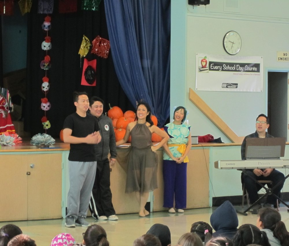Actors Minseob Yeom, Chris Juan, Pauli Amornkul, Isabel To, and me performing at Shore Acres Elementary.