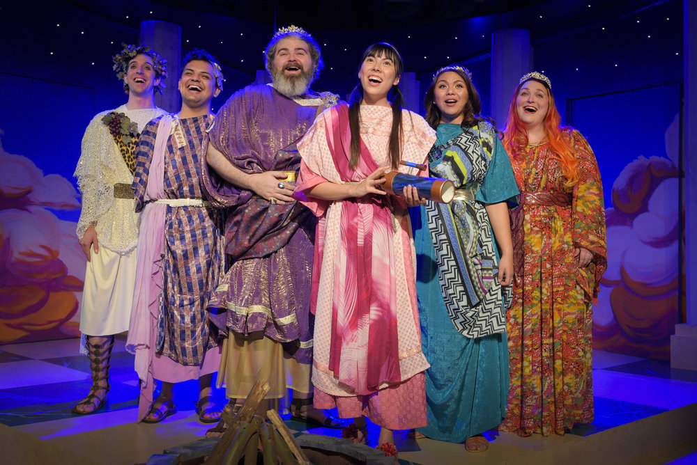L to R: Nysus (Andrew Mondello), Hilarion (Christian Arteaga), King Midas (Matt Standley), Princess Lydia (Elisha Beston), Queen Midas (Aly Casas), Hestia (Sheila Townsend).  Photo by Alessanda Mello.