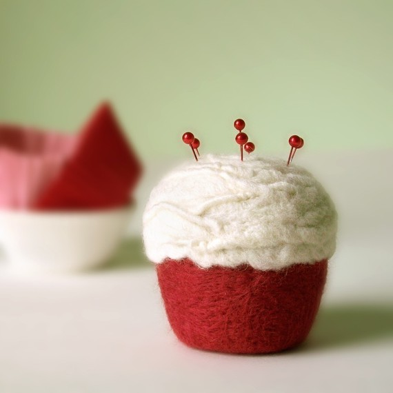 Felted pincushion - red velvet cupcake by Made in Lowell