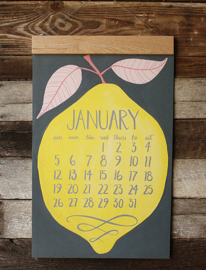Oversized Wall Calendar with wood hanger by 1Canoe2