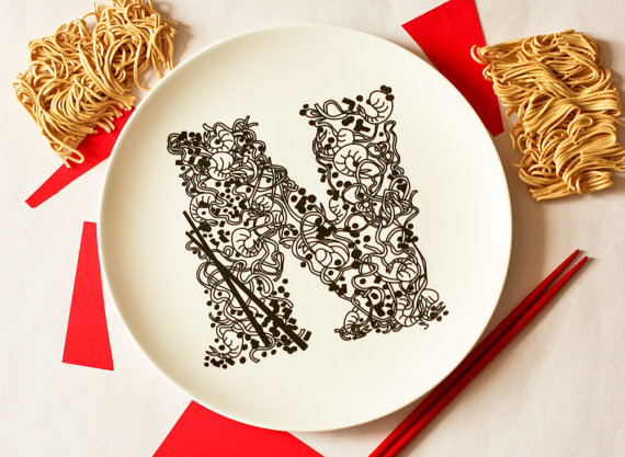 N for Noodles Alphabet Ceramic Plate by Just Noey
