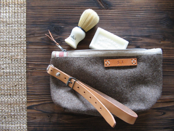 Wool toiletry bag with initials by Ecolution