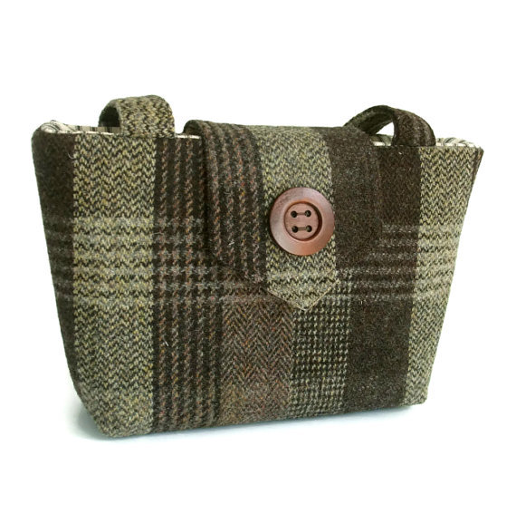 Harris Tweed Purse - brown check
