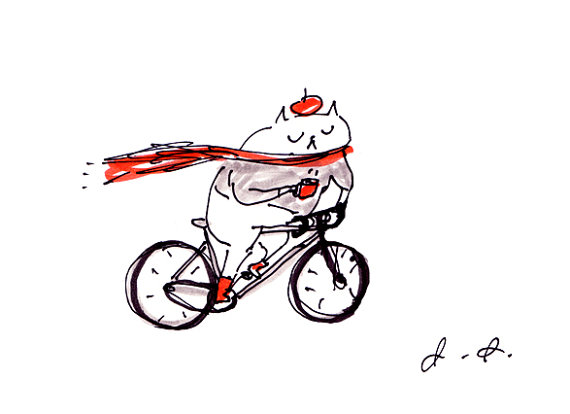 Cycling Art Cat - Coffee to go