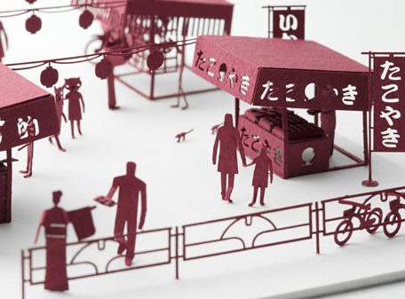 How cool is this? A model of Japanese festival stalls, designed by Naoki Terada.