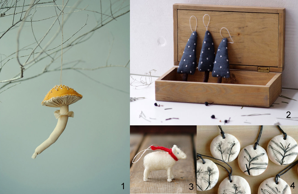 1  Mushroom ornament  by willowyn, $33.37  2  Set of 3 blue Christmas trees  by adatine, $23  3  Lamb with a red scarf ornament  by Bossy's Feltworks, $15  4  Herb print holiday ornaments  by Julia Paul Pottery, $8 each
