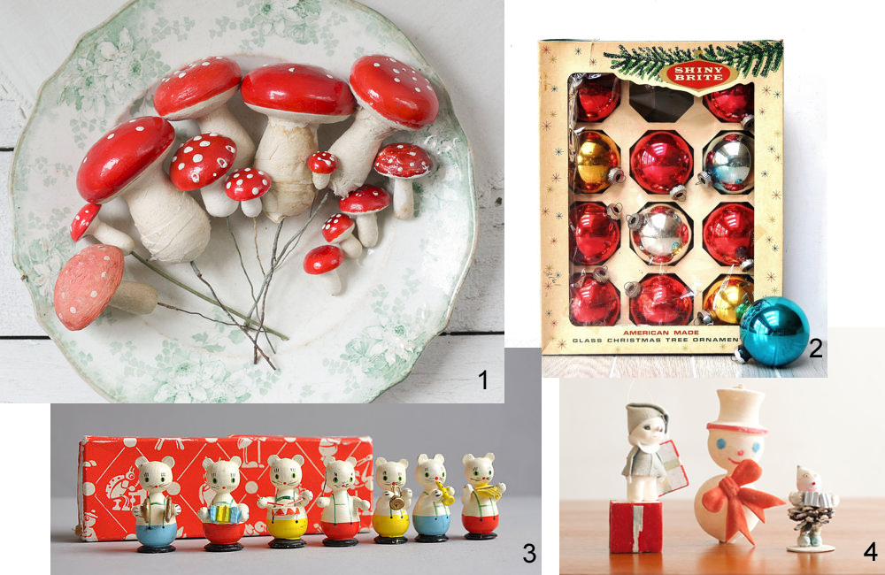 1 Vintage spun cotton mushroom collection from Smile Mercantile, $83.50 2 Vintage shiny brite glass ornaments from The White Pepper, $25.50 3 Tiny cat band from Mister True, $45 4 Set of 3 vintage ornaments from House of Seance, $18
