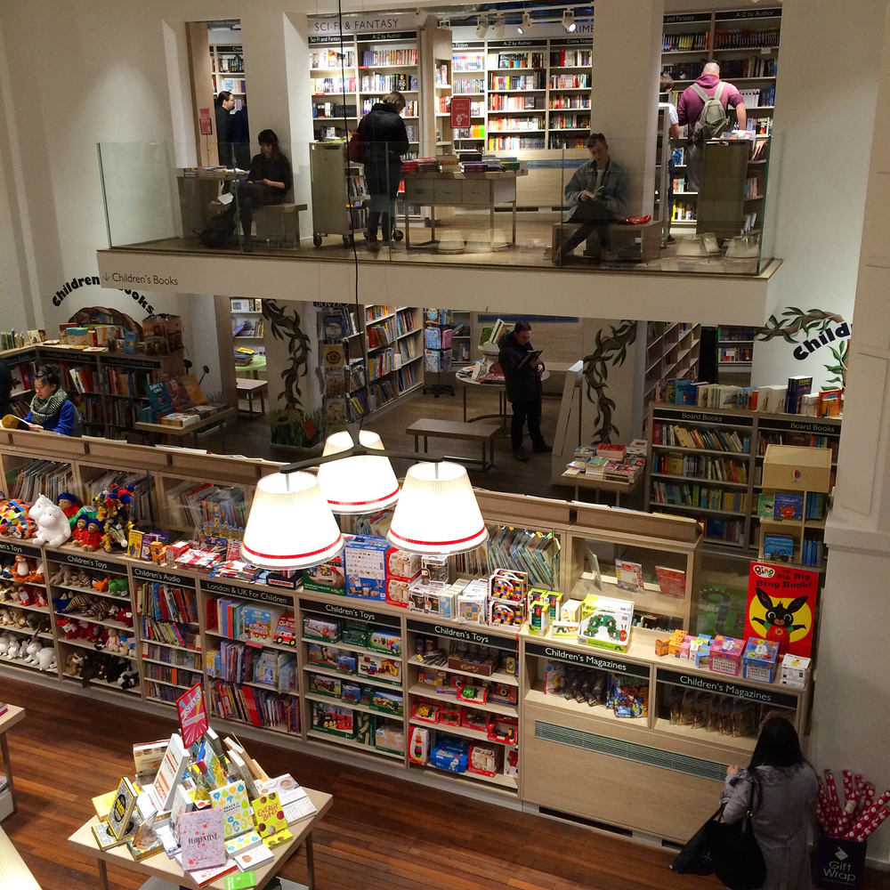 The bookstore, Foyles, on Tottenham Court Road. The first place we visited in London by bookworm T's request.
