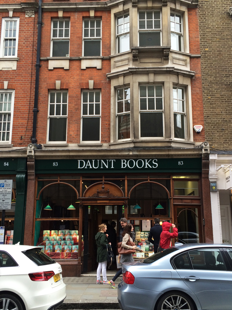 Daunt Books on Marylebone High Street is an absolutely gorgeous bookstore. Books organized by geography.