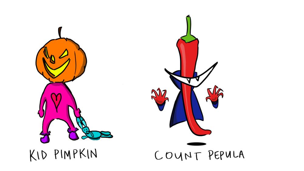 Main characters Count Pepula and Kid Pimpkin.