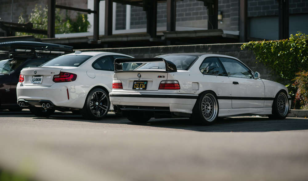 Seen above: Shafique's S54 powered E36 M3 build alongside the new M2 project. If you've followed the E36, then you should have suspected that the M2 would be something to keep your eye on...