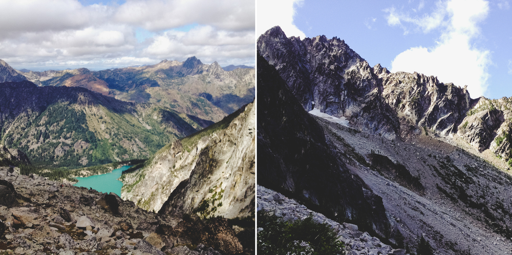Image on the left take from the top of Aasgard Pass.  Image on the right taken from half way up Aasgard.
