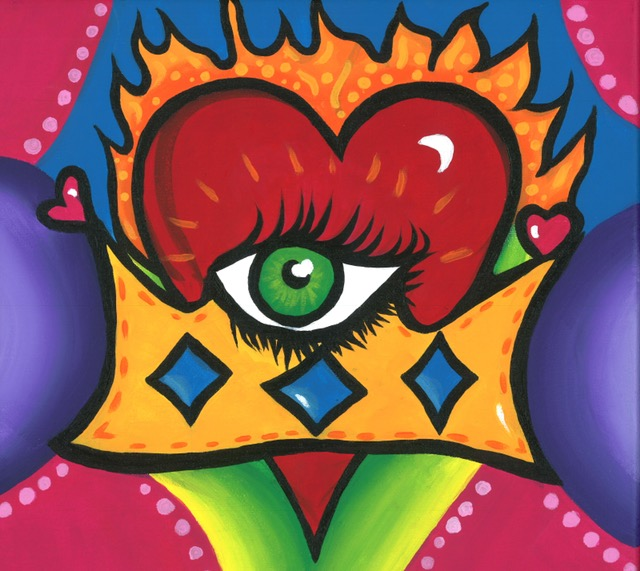 """Queen of Hearts On Fire"" Original Artwork Copyright Xanthia Pink"