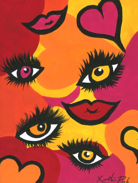 """Fiery Hearts & Eyes of Love"" Original Painting by Xanthia Pink"