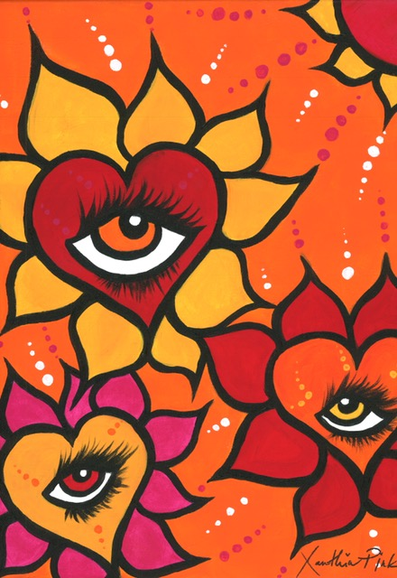 """Sunflower Love Eyes"" Original Painting by Xanthia Pink"