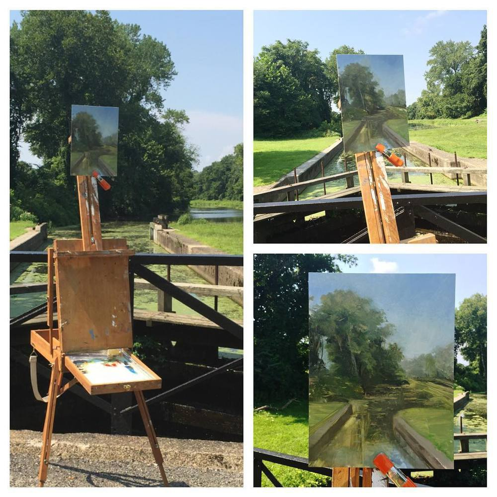 First real plein air sketch of the season. Spent about two hours at a lovely spot along the Lehigh Canal. Getting ready for a plein air workshop I'm running for the Riverside Festival of the Arts in  Easton  on September 5 and 12. More details to come soon. In the meantime....more practice in the field!