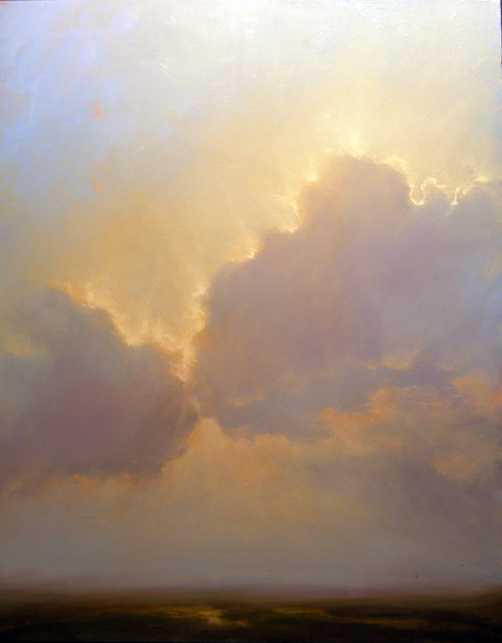 I'm a painter. I use the sky in my paintings as a metaphor for consciousness and approach painting clouds very much the same way as I would if I were painting someone's portrait. Clouds are in constant motion, always changing form and evolving, always beginning and ending simultaneously.