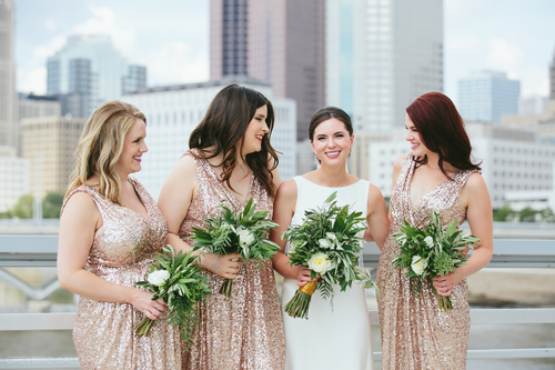beautiful gold sequin bridesmaid dresses from rent the runway make for a gorgeous compliment to the