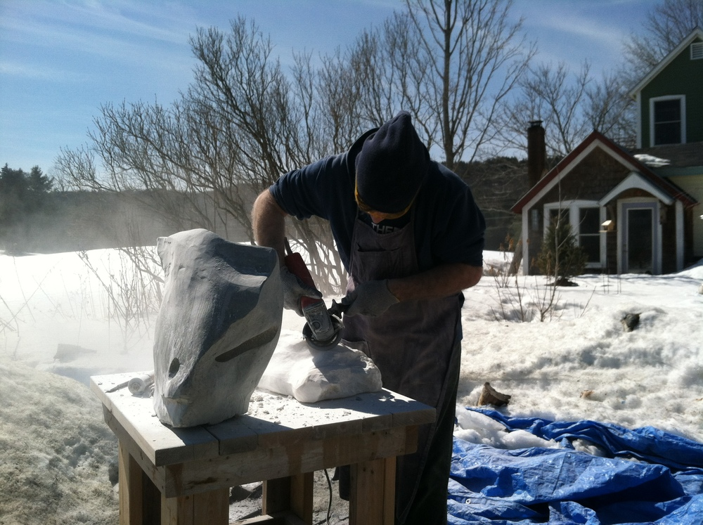 Michael Clookey hard at work despite the cold, 2015