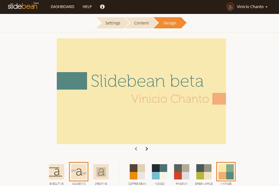 Screenshot ofSlidebean Beta exactly one year ago.