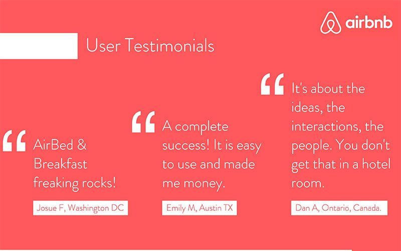 For the press and the testimonials slides, we decided to cut down the number of quotes to 3, to allow larger, and more readable text.