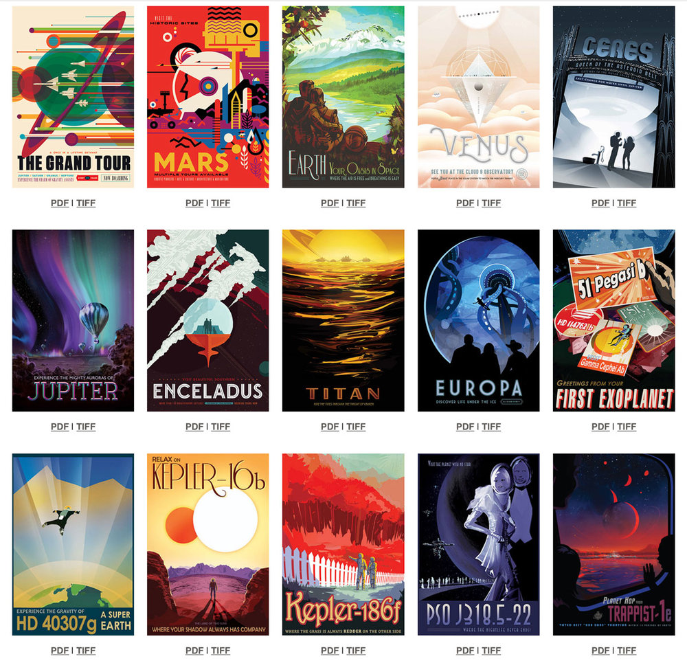 I happened to grab a few from the NASA stand on the last SXSW festival, but the collection of 15 posters is available for free on a super high definition so you can print them yourself.