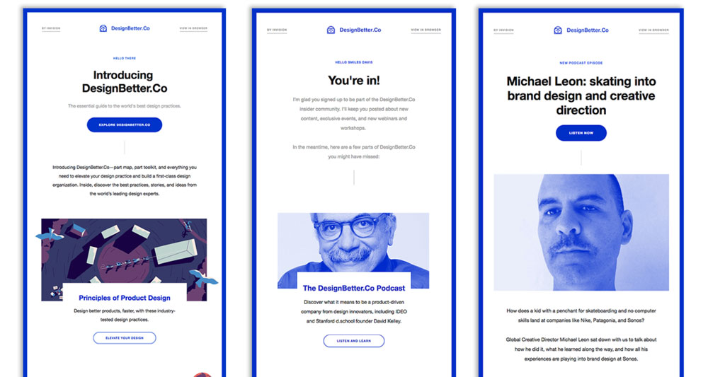 Three editions of DesignBetter.Co newsletter using the same template.