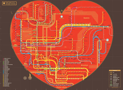 A lovely heart shaped map of the NYC Subway system, illustrating my affections.