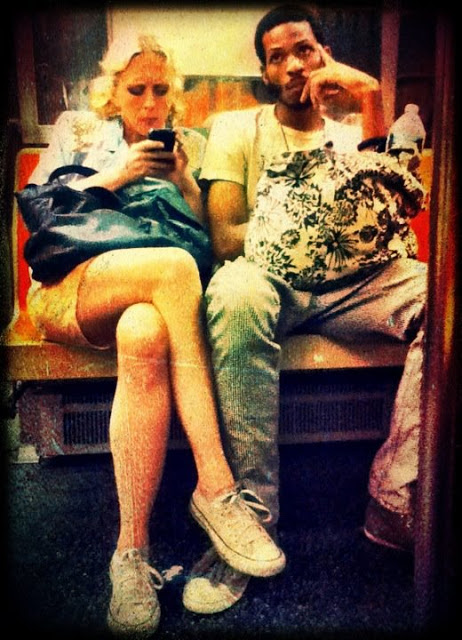 A happy couple I saw one evening on the Subway.