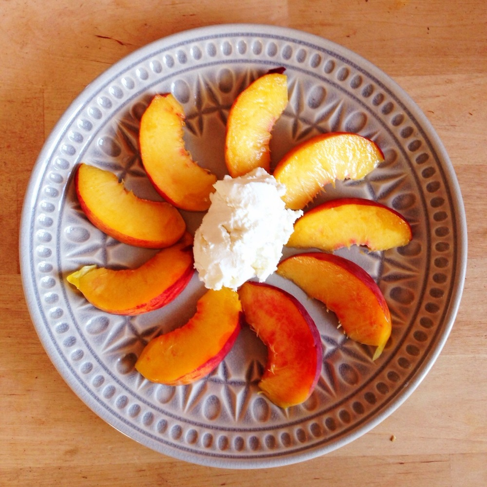 Served with peaches slices makes a heavenly combo