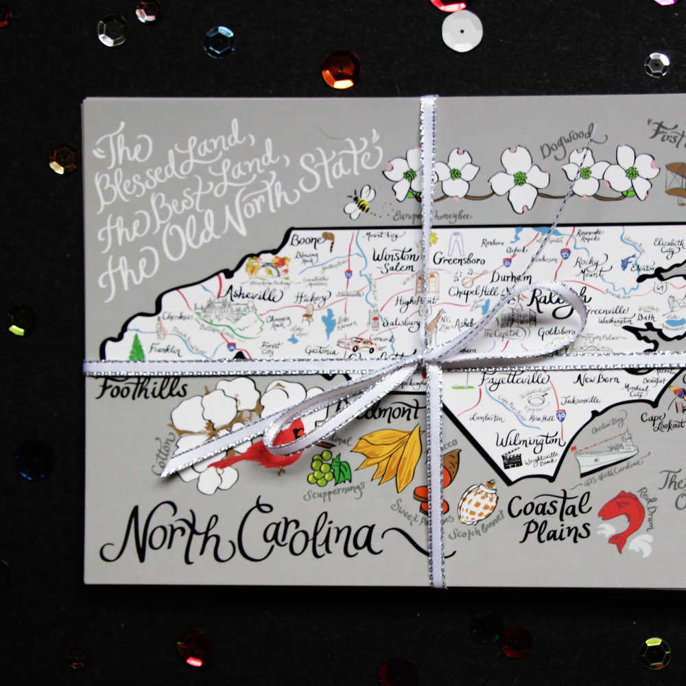 North Carolina Map Postcard
