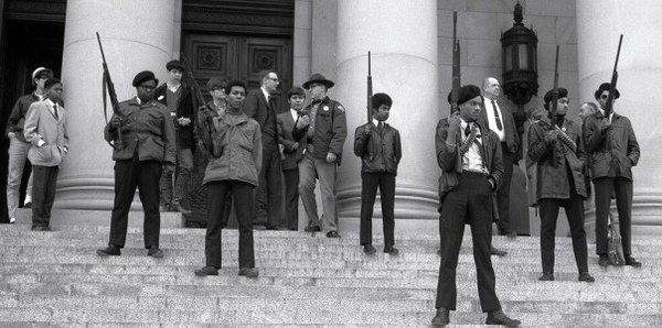 Members of the Black Panther Party for Self Defense demonstrate against the Mulford Act on the steps of the California capital building, May 1967.