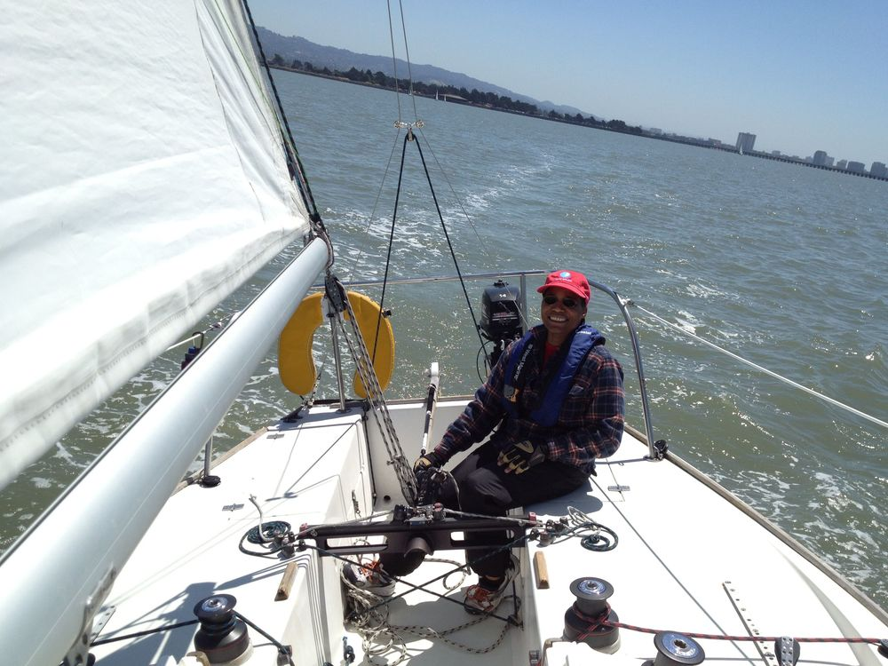 Carol Sanders on the helm