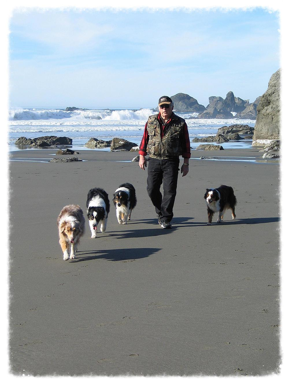 Katy, Nitro, Cruiser, Leonard and Hellon at  Lone Ranch Beach, our favorite beach, near Brookings, Oregon.  Spring 2013