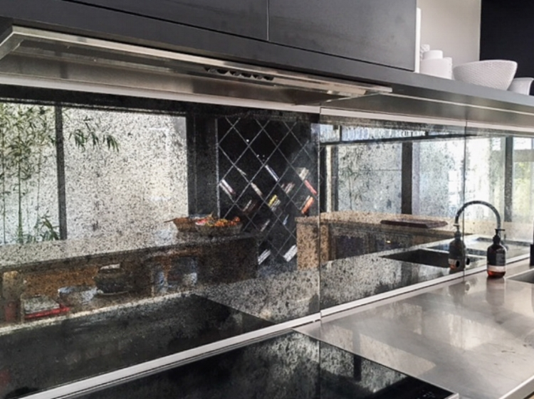 kitchen splashback in toughened antique mirror brixton finish