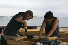 Lukas & Elfi got straight to work building our new dive benches