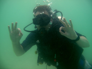 Aaron, the only non-diver of the UWE team enjoyed his first ever dive with us