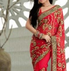 red sarees Bollywood Fashion.JPG