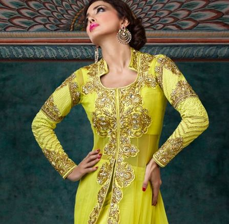 citrine yellow anarkali from bollywood fashion.JPG