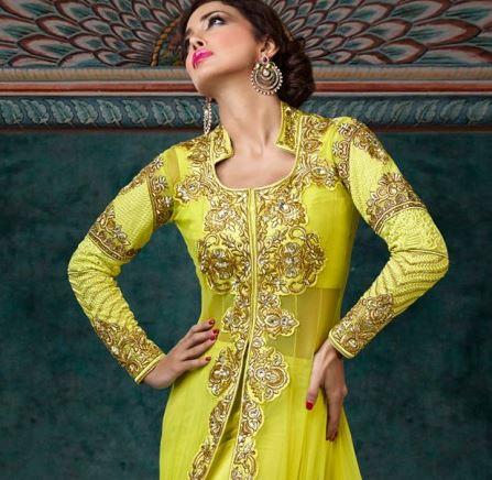 citrine yellow anarkali from bollywood fashion.JPG